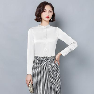 2020秋新款韩版粉红玛丽专柜正品牌圆领声雨竹浅秋女装真丝衬衫睐