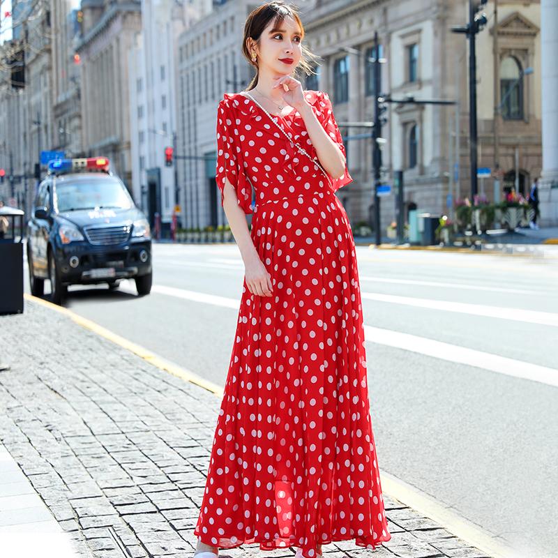 裙子2020新款红色连衣裙复古赫本风V领波点连衣裙 超大摆长裙脚踝