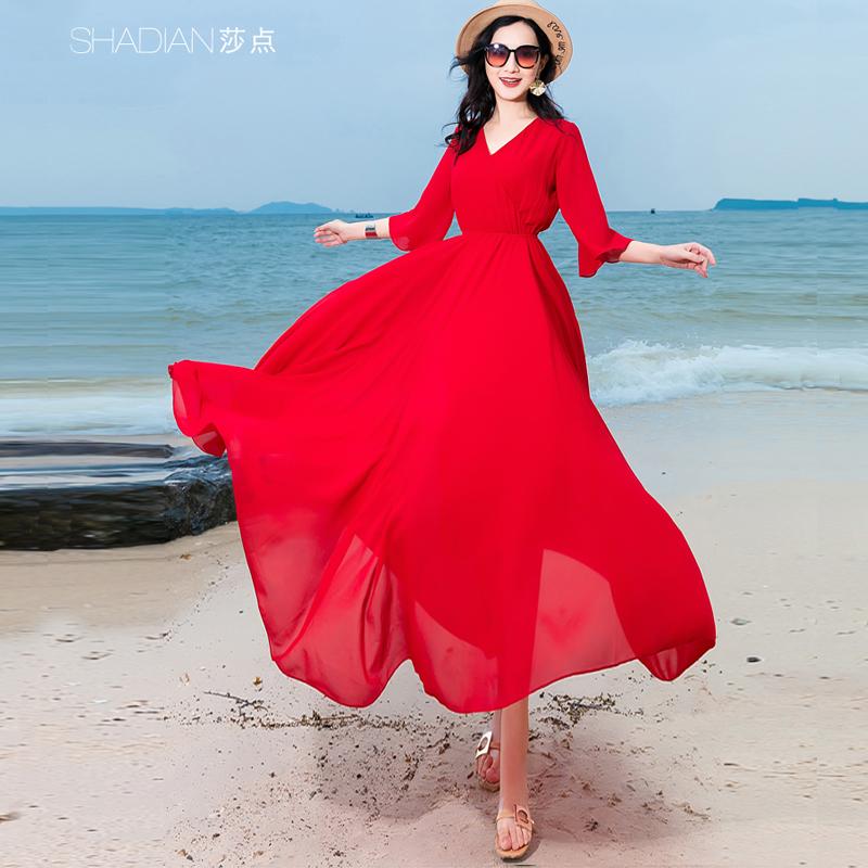 莎点红色雪纺长裙连衣裙红色 V领荷叶袖松紧腰度假大摆长款裙子