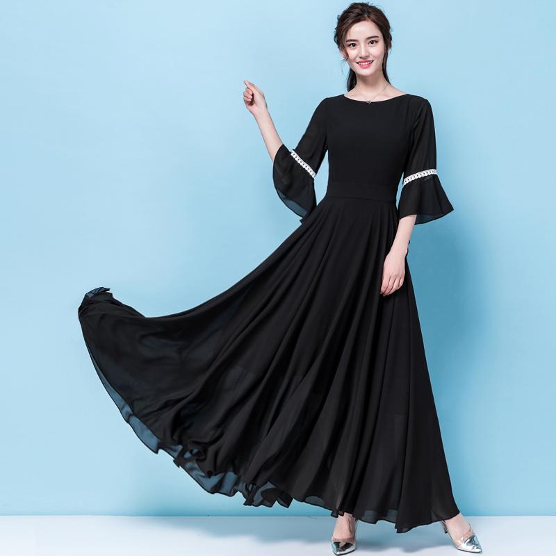 莎点夏天新款显瘦长裙 圆领七分喇叭袖黑色雪纺大摆连衣裙加长款