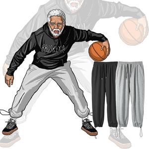 夏季灰色男士宽松直筒篮球束脚卫裤