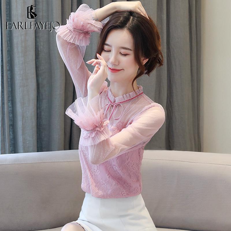 蕾丝长袖上衣打底衫女秋冬装2019年新款潮流时尚洋气网红雪纺衬衫