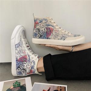 涂鴉印花潮流男士韓版個性休閑高幫帆布學生鞋子ins
