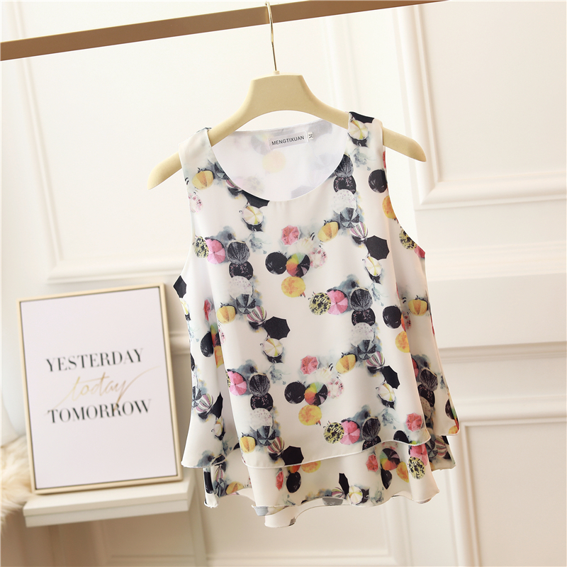 2020 new spring and summer wear small suspender floral Vest Large loose cover belly bottom Chiffon Top