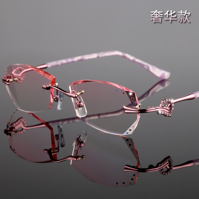 With diamond cut edge rimless spectacle frame, female pure titanium spectacle frame, flat light color change, myopia glasses