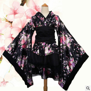 Blissful pure land kimono Maid Costume cos Antique Japanese anime full set dance Lolita female cosplay costume