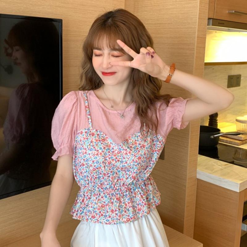 夏季短袖衬衫女设计感小众甜美小清新碎花吊带拼接假两件上衣衬衣