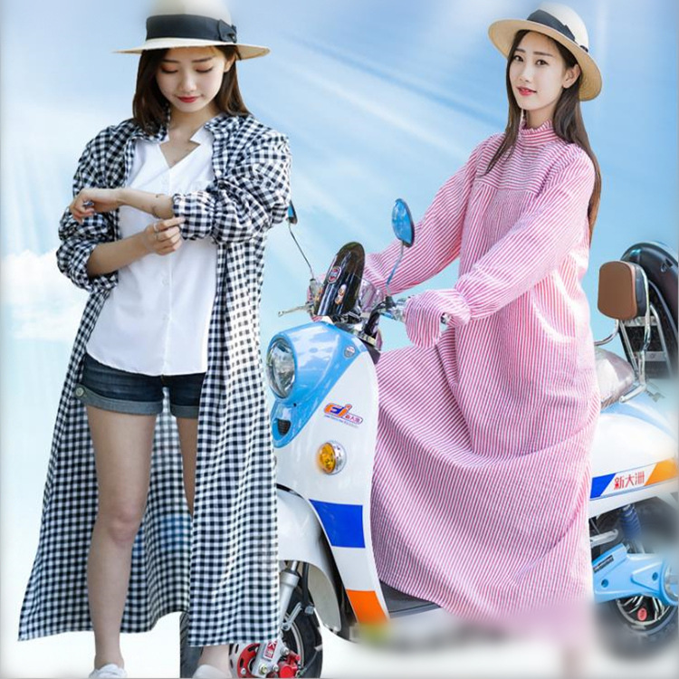 女夏季全身电动车防晒衣加长款泡泡棉防紫外线遮阳服骑车披肩