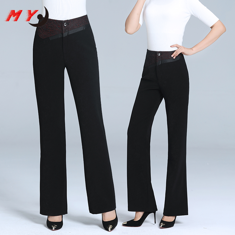 Kaidi black ant high waisted micro flared pants autumn / winter 2019 new look thin versatile loose suit pants woman