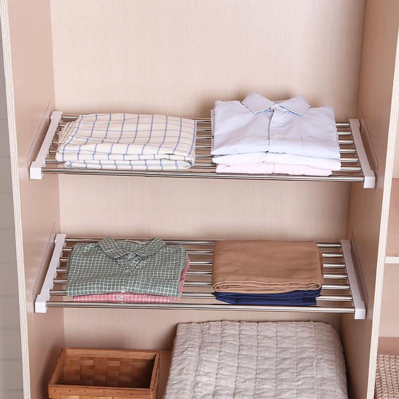 衣櫃收納分層隔板櫥櫃伸縮分隔層架宿舍櫃子鞋櫃置物架分層架免釘