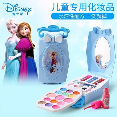 迪士尼儿童化妆品套装无毒女孩彩妆盒口红过家家玩具冰雪奇缘化妆