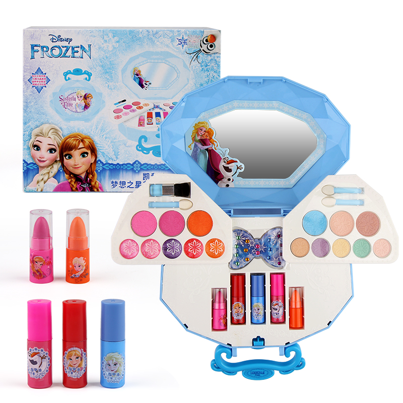 Disney children's cosmetics set ice and snow 2 toys birthday gift little girl's makeup and makeup set box