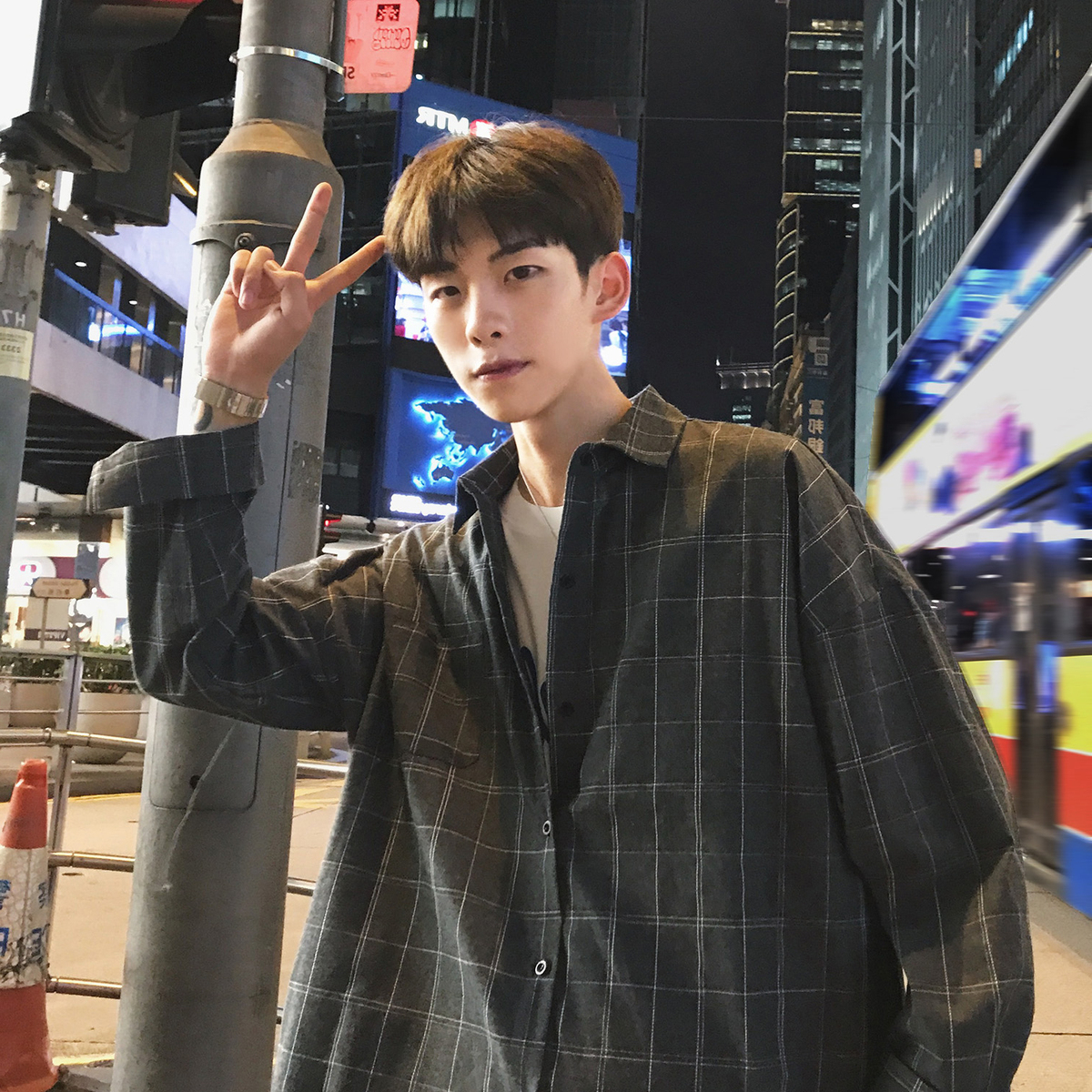 Plaid Shirt Mens long sleeve Korean version fashionable and handsome boys shirt Hong Kong Style ins loose and versatile inch thin coat
