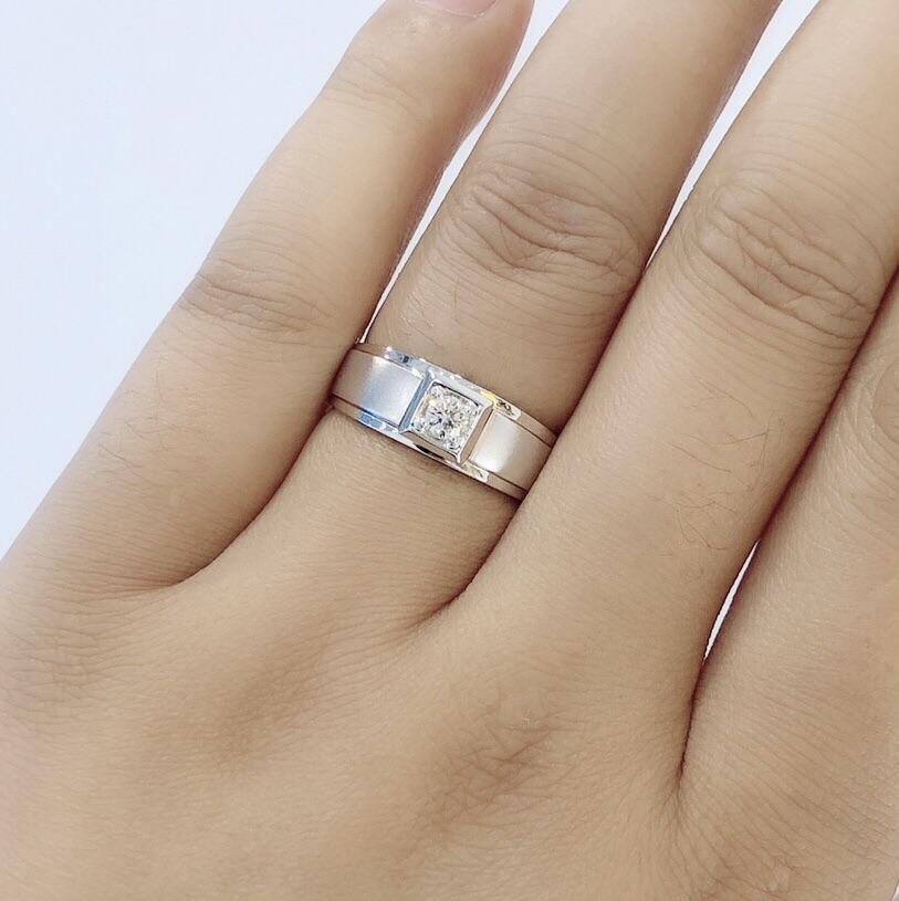 18K金求订结婚男士钻戒男戒 裸钻对戒定制 铂金1克拉真钻石戒指男