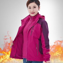 Winter 3-in-1 stormsuit women's plush and thickened two-piece waterproof jacket outdoor large mountaineering suit for middle-aged and old people