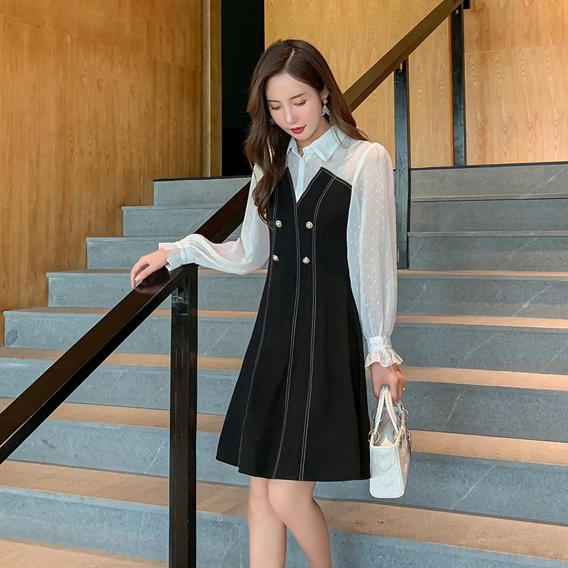 新款2019秋季复古小黑裙显瘦连衣裙