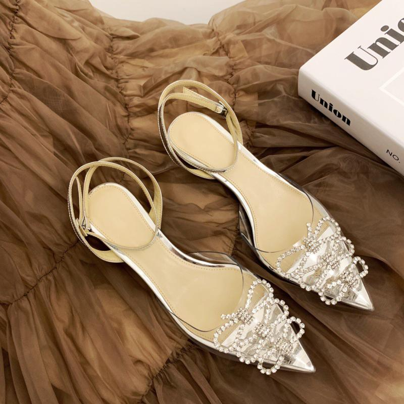 2021 spring and summer new Baotou sandals PVC transparent crystal shoes bow ankle strap fairy style high heels