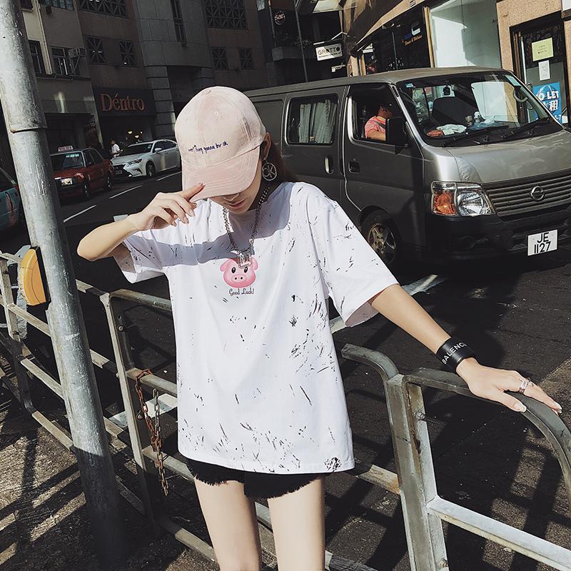 2019早春幸运小猪油墨泼溅彩虹日历短袖T恤女白色宽松网红上衣潮
