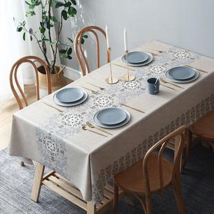 桌旗桌布一体防水防油免洗餐桌布长方形台布茶几布艺桌垫PVC北欧品牌