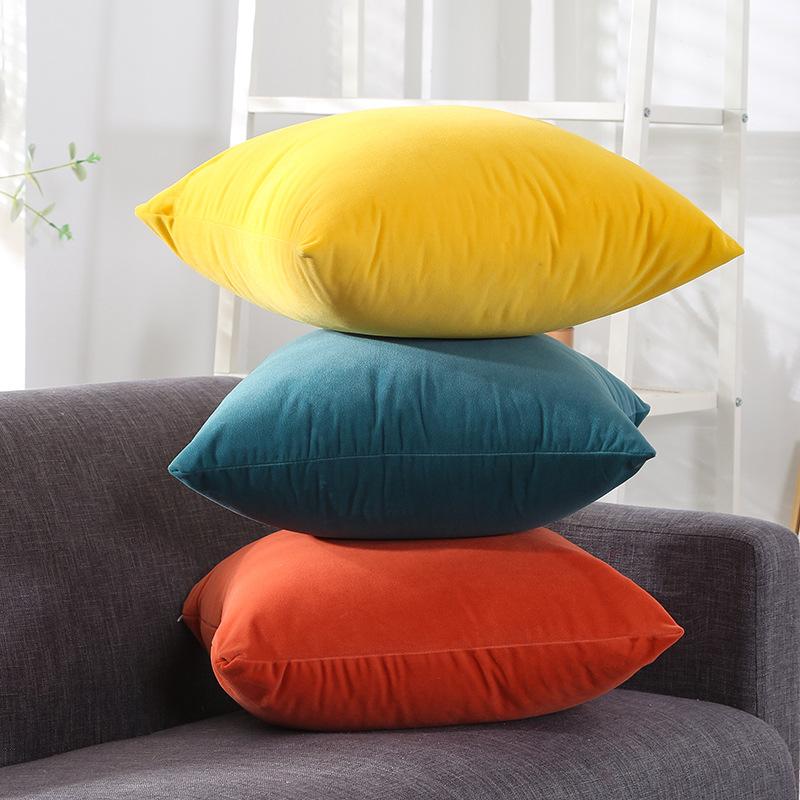 北欧天鹅绒抱枕靠垫沙发办公室椅子腰靠枕床头靠背垫抱枕套不含芯