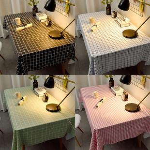 桌布布艺防水防油免洗北欧ins风格子网红餐桌布pvc塑料学生书桌垫
