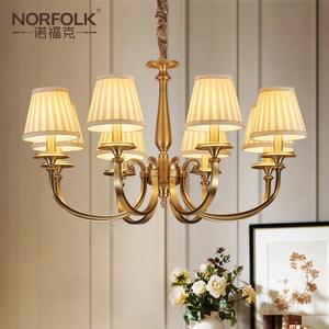 美式简约客厅灯简美卧室全铜灯欧式灯具田园风格家用布罩全铜吊灯