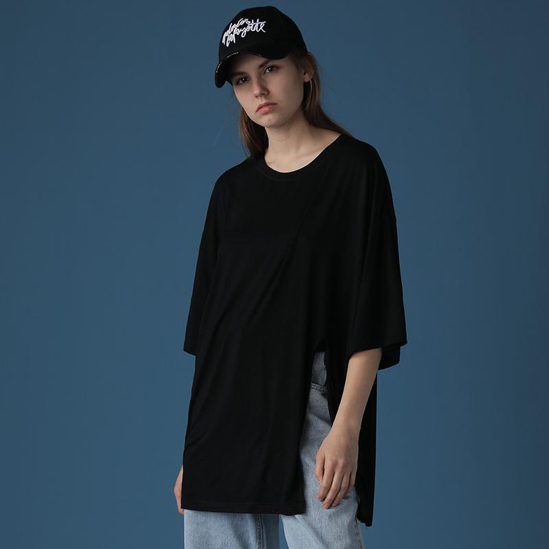2020新款黑色T恤女宽松中长款下摆开叉御姐上衣轻熟风短袖ins潮夏