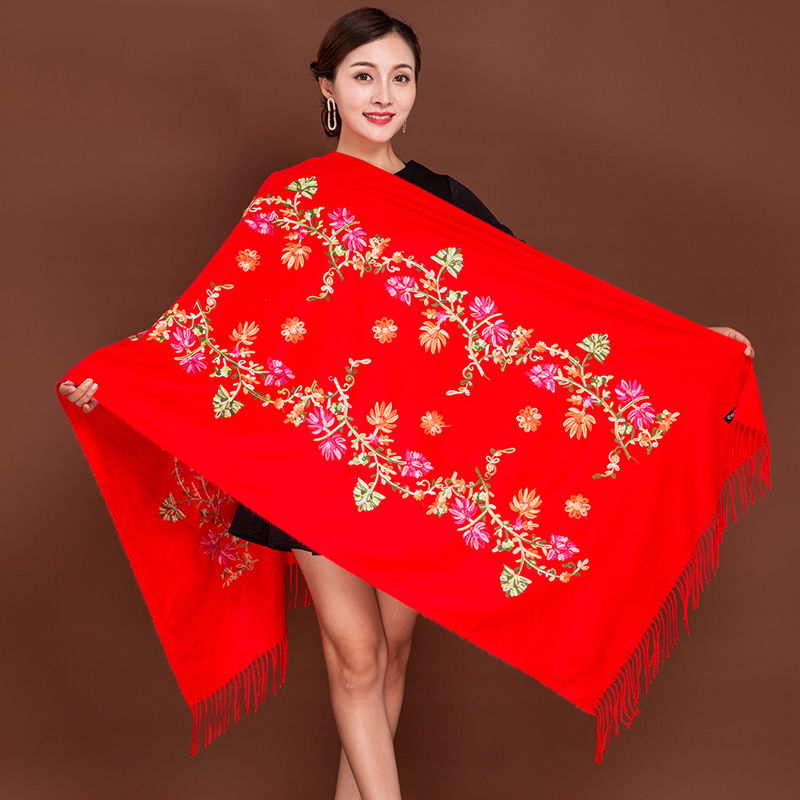 Autumn and winter Tibet Nepal Embroidery Flower imitation cashmere female scarlet national style scarf thickened dual-purpose Cloak