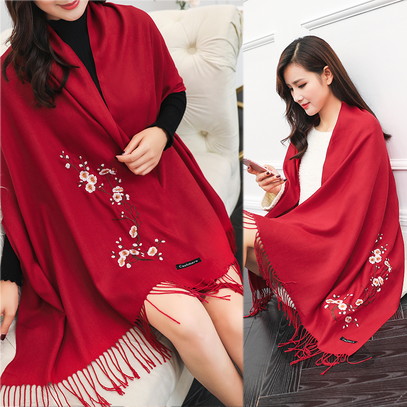 National style autumn and winter embroidered scarf send mother pure color embroidered imitation cashmere long thickened travel all-around shawl