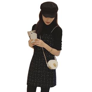 秋季新款韓版毛呢吊帶連衣裙女修身顯瘦復古港味赫本內搭小黑裙冬