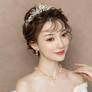 2019新款新娘头饰大气皇冠项链耳环三件套婚纱结婚饰品生日成年女品牌