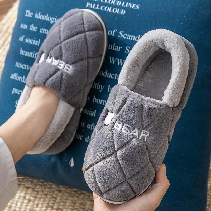 男士棉拖鞋秋冬季毛毛家居2020家用一脚蹬保暖加绒外穿豆豆棉鞋男