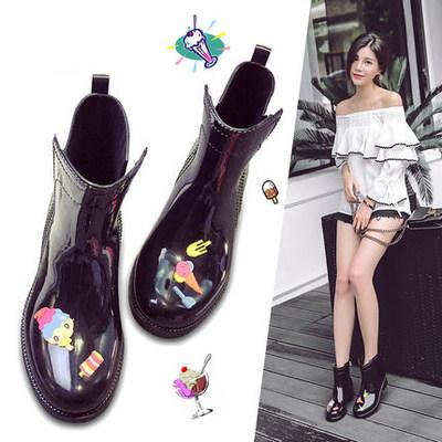 雨鞋水鞋时尚中筒女士马丁雨靴外穿短筒低帮防滑韩国可爱套鞋胶鞋