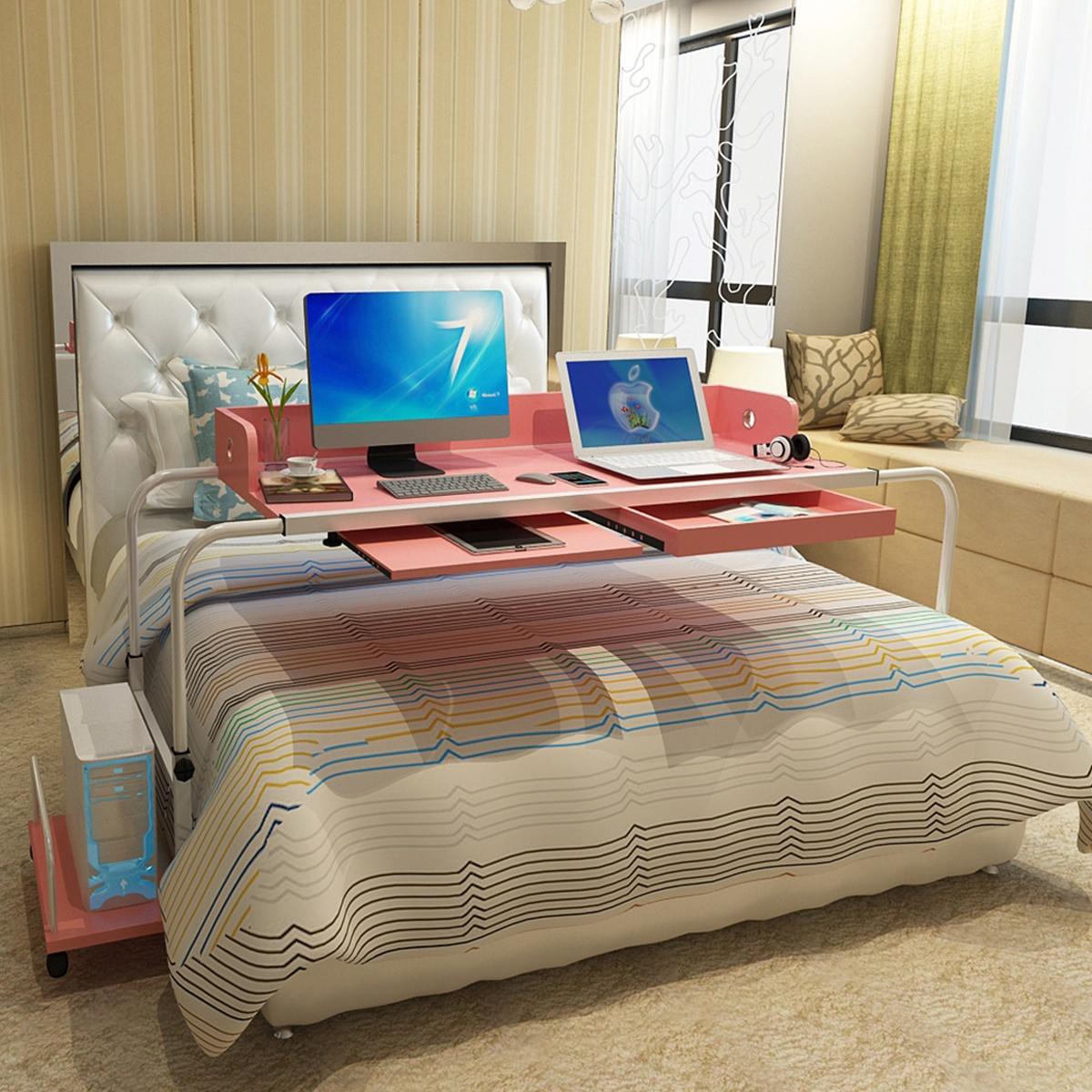 诺译双人伸缩床上可移动升降笔记本台式电脑桌家用懒人跨床小桌子