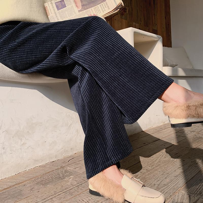 灯芯绒阔腿裤女秋冬加绒加厚高腰宽松直筒春秋垂感金丝绒拖地裤子图片