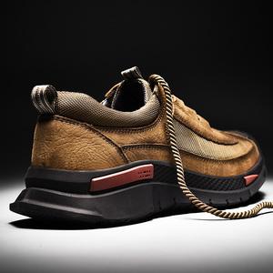 男鞋秋男士真皮户外运动休闲鞋百搭皮鞋头层牛皮软底登山徒步鞋子