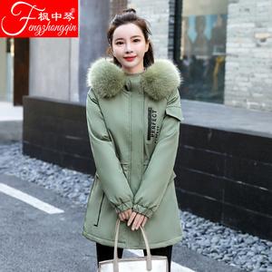 2020冬新款棉衣女短款韩版显瘦大毛领宽松刺绣抽绳收腰加厚派克服