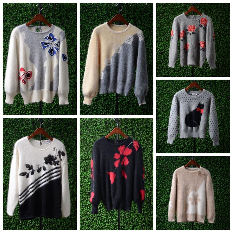 Vintage original single print Angora rabbit hair rabbit hair slim and sweet versatile Pullover Long Sleeve Sweater Girl