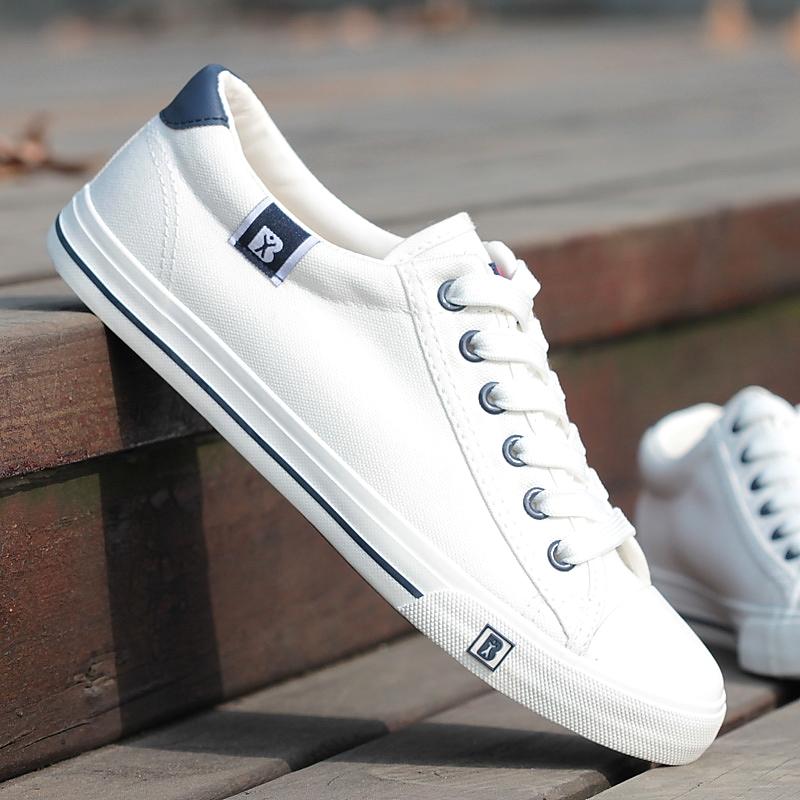 人本春夏帆布鞋男女士低帮情侣款白色休闲鞋板鞋男学生百搭单鞋男