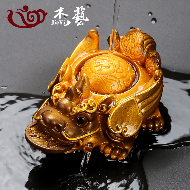 Coloured tea spoiled decoration high-quality creative mink spray water Jinchan tea pet kungfu tea set tea ceremony accessories can be maintained