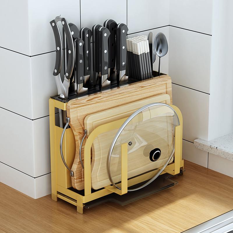 御仕家厨房刀架置物架菜板刀架子砧板用品刀具收纳架刀座锅盖架