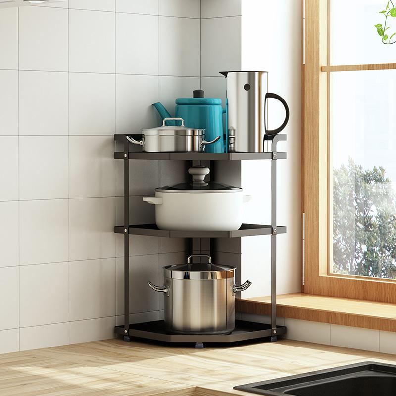 多层台面转角厨房放锅架调料置物架满99元可用3元优惠券