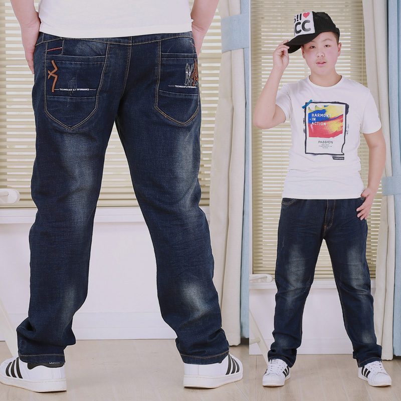 Childrens clothing fat boys pants spring and autumn new jeans big childrens fattening pants childrens loose casual pants