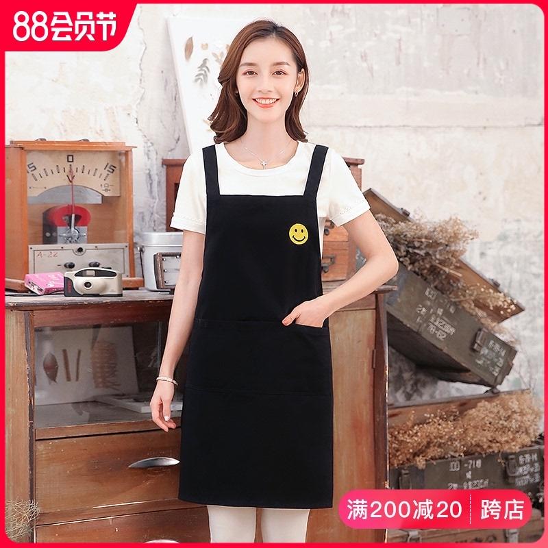 围裙时尚家用厨房做饭工作服女纯棉可爱2021新款男士定制印字LOGO