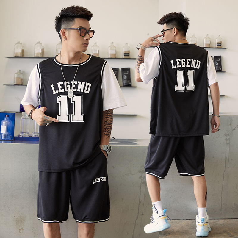 Basketball mens fake two piece short sleeve T-shirt suit trend Leisure Sports Youth Summer 2021 New Jersey