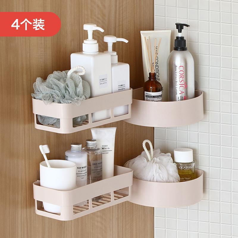 浴室卫生间置物架壁挂免打孔收纳架墙上吸壁式塑料厕所卫浴三角架