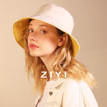 【双面戴】ZIYI帽子女士春夏遮阳防晒黄色盆帽宽檐光身日系渔夫帽