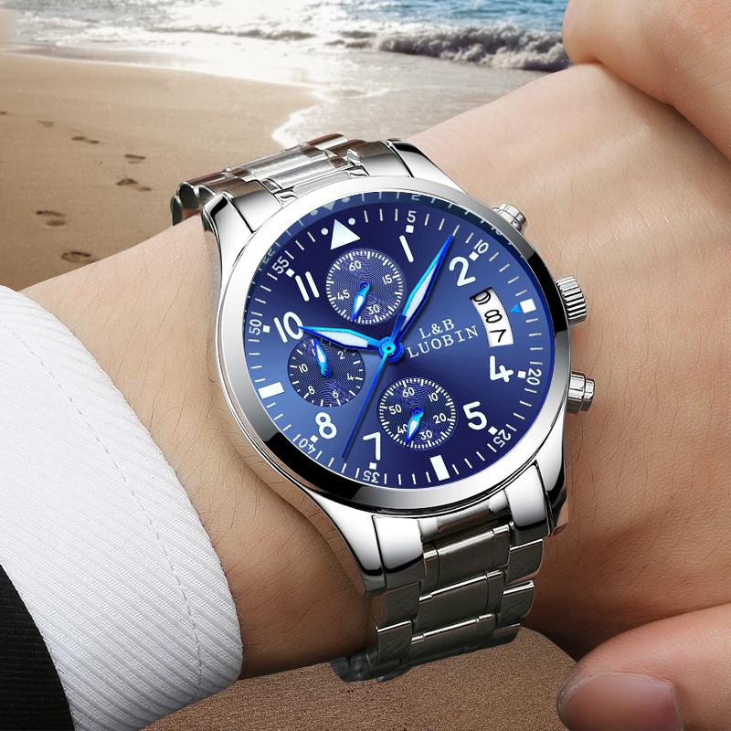 2018新款手表男表非机械运动石英学生防水时尚潮流夜光钢带男手表