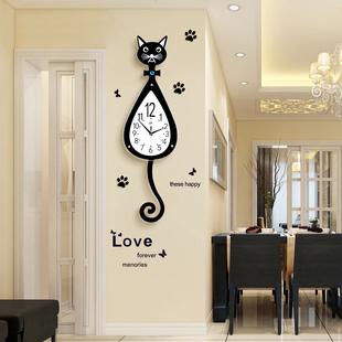 猫咪挂钟创意客厅现代简约钟表时尚卡通挂表家用静音个性时钟装饰
