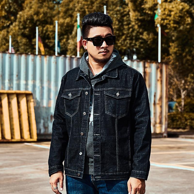 Autumn wash jeans extra large fat lapel jacket mens fashion brand large 6xl Japanese Vintage jacket